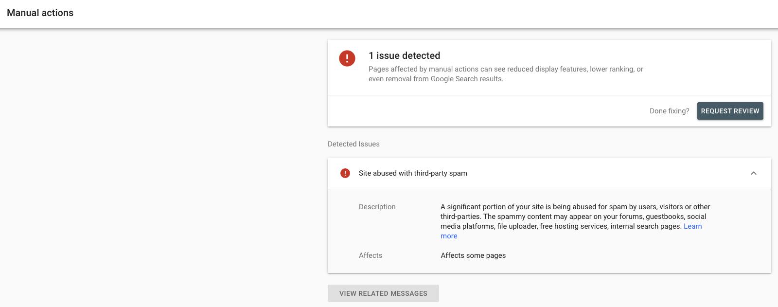 Eine Nachricht in der Search Console zu einer Website, die für Spam von Dritten missbraucht wird