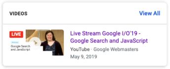 Google 検索結果で動画に LIVE バッジがどのように表示されるかを示した例。