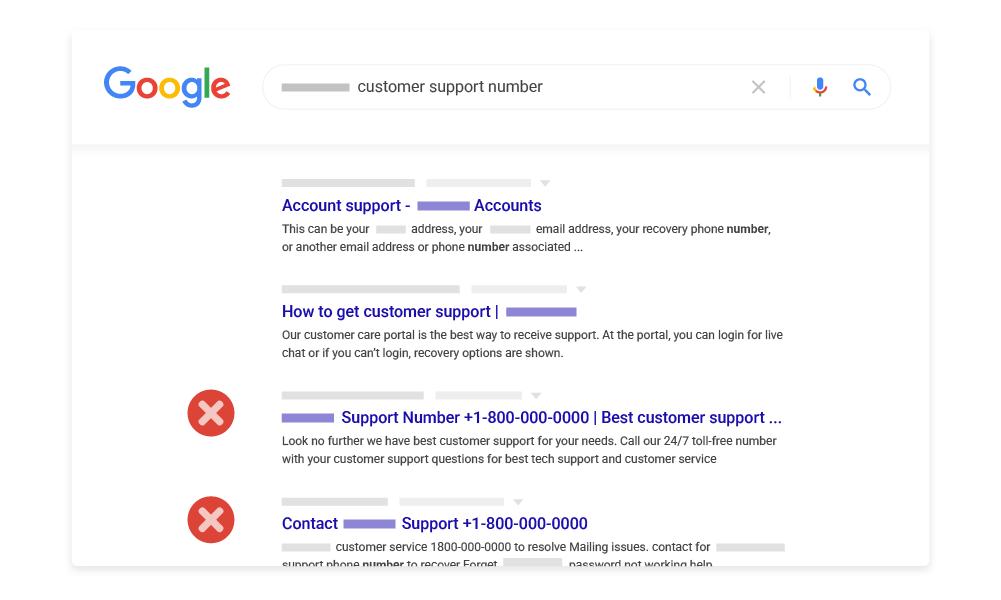 搜尋結果中的客戶服務詐騙示例