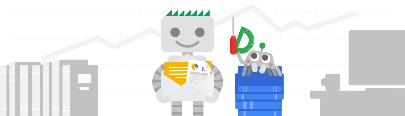 Googlebot et son amie l'araignée en train de proposer des insights, des ressources et des outils