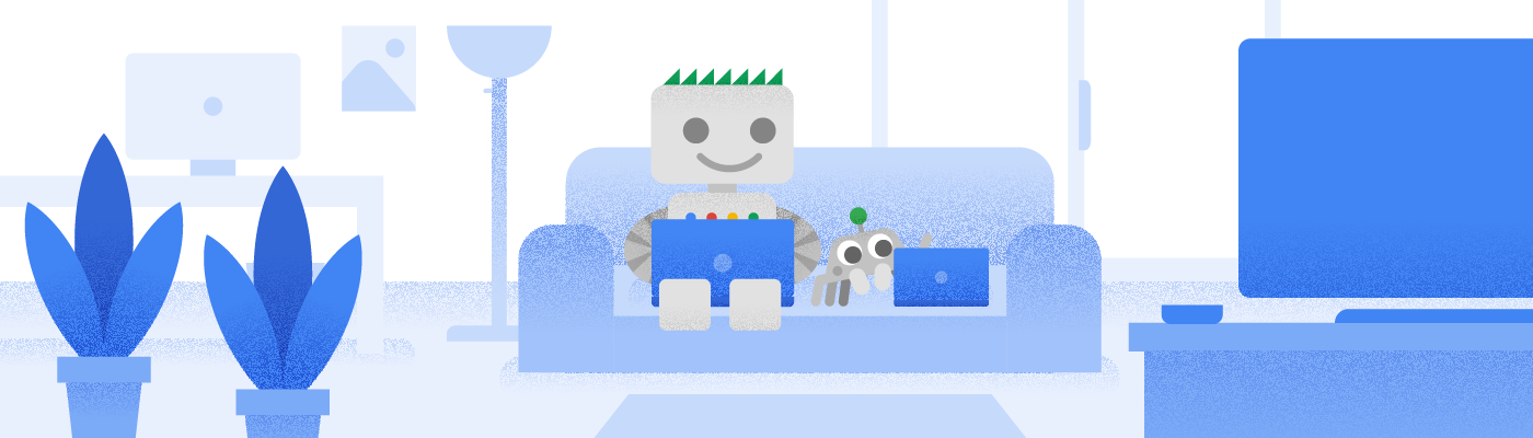 Googlebot and its friend sitting on a couch.