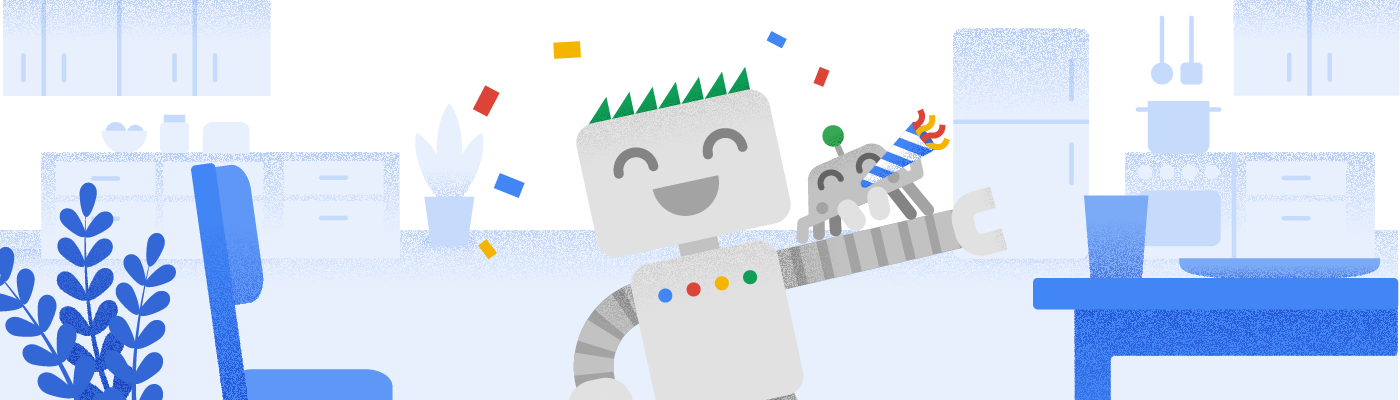 Googlebot and its friend cheering for the holiday season.