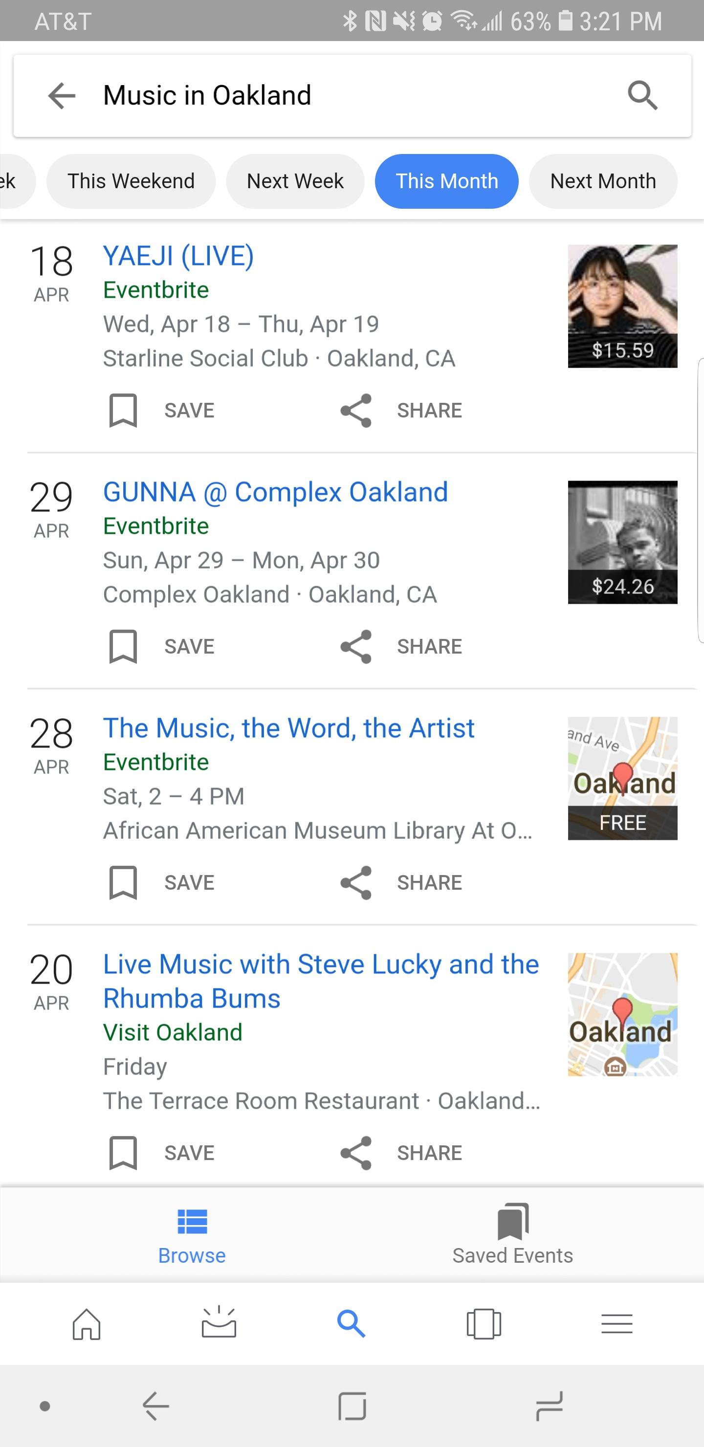 Ejemplo de evento en los resultados de búsqueda