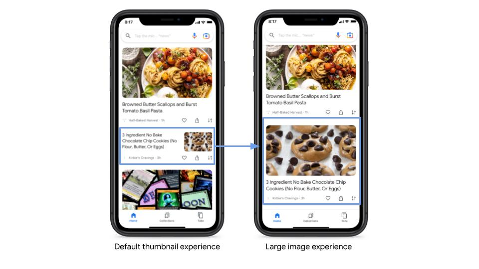 default thumbnail appearance compared to large images in Discover