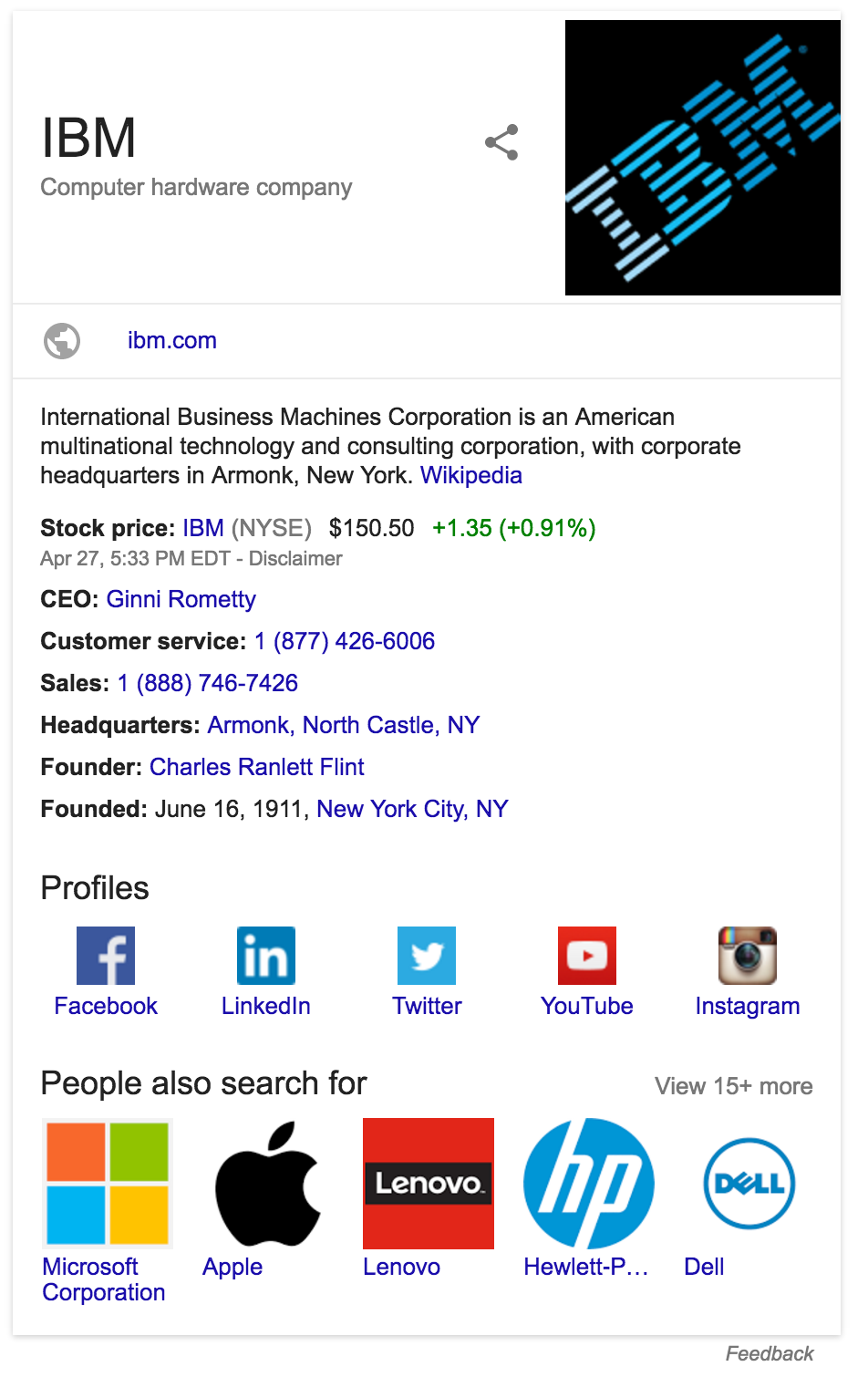 Google knowledge panel in Search results