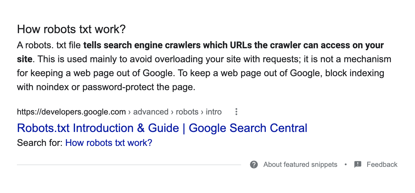 Featured snippet in search results