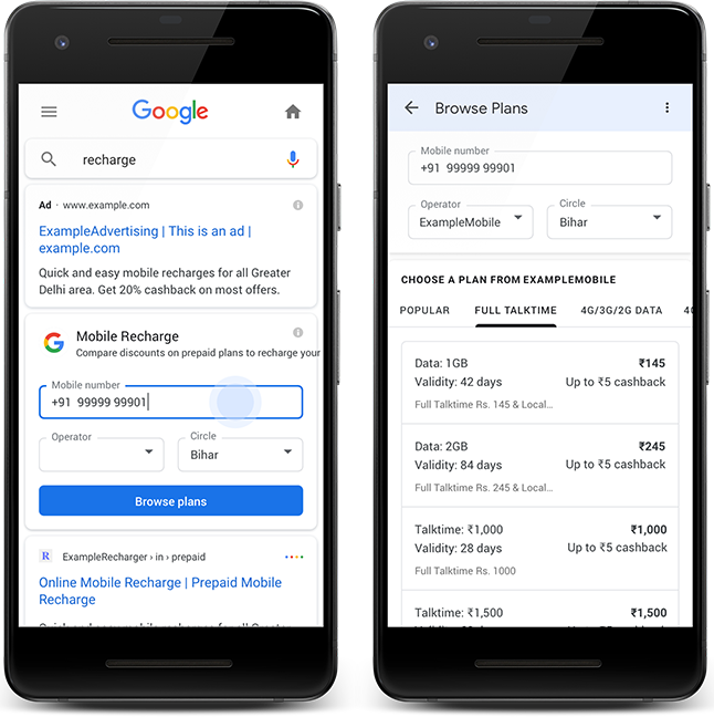 Multiple screenshots that show a user viewing the Mobile Recharge Search result and selecting a plan