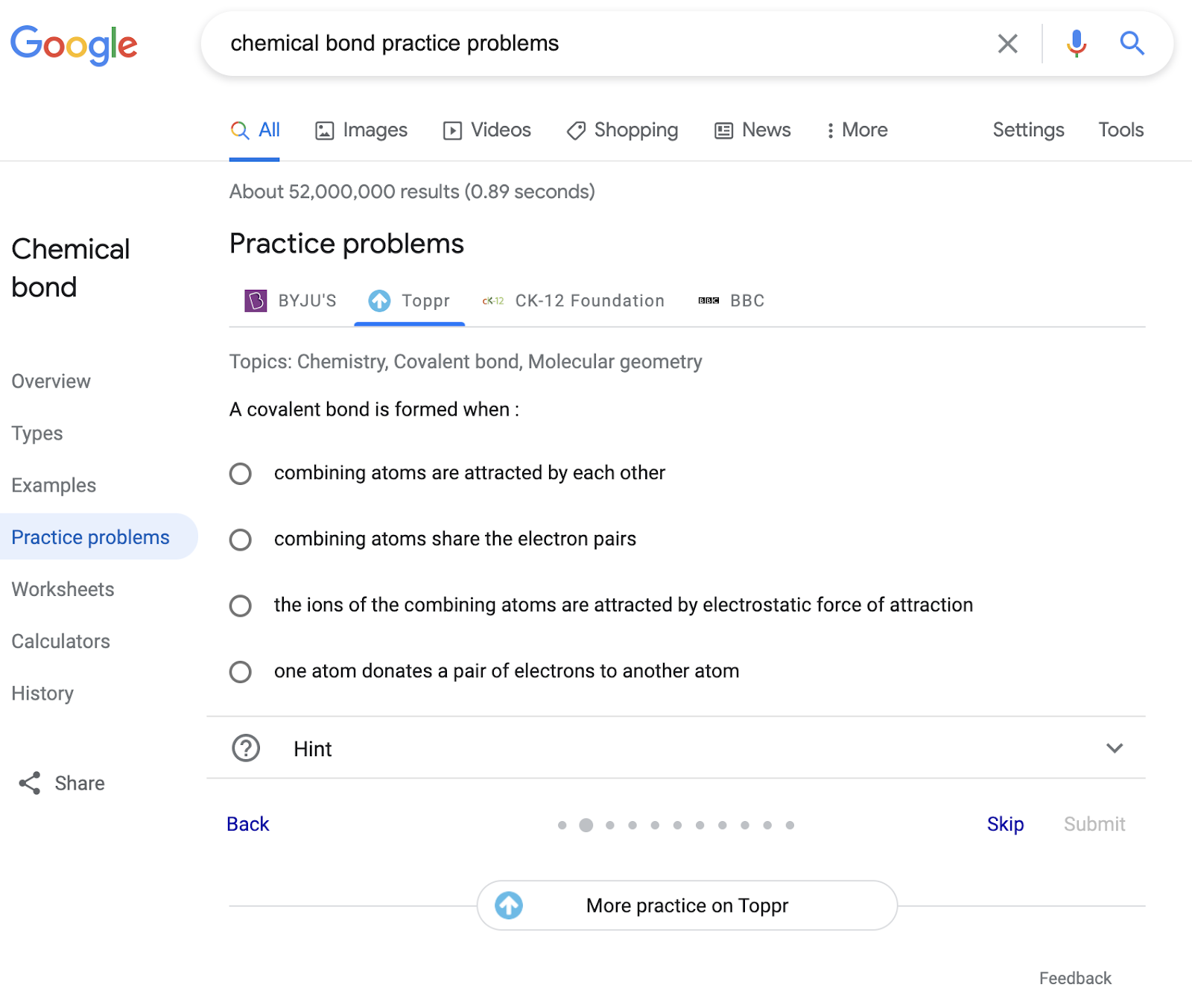 Practice problems rich result in Google Search