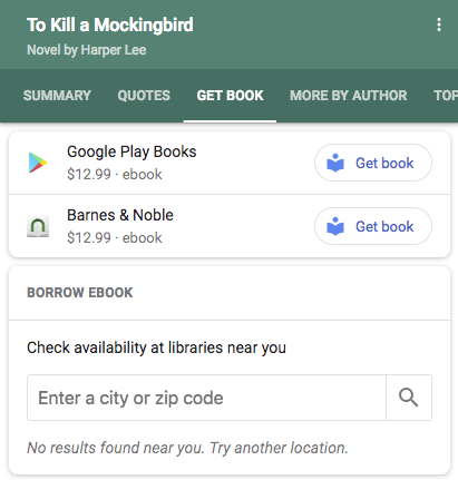 book example in search results