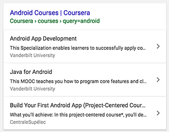 course example in search results