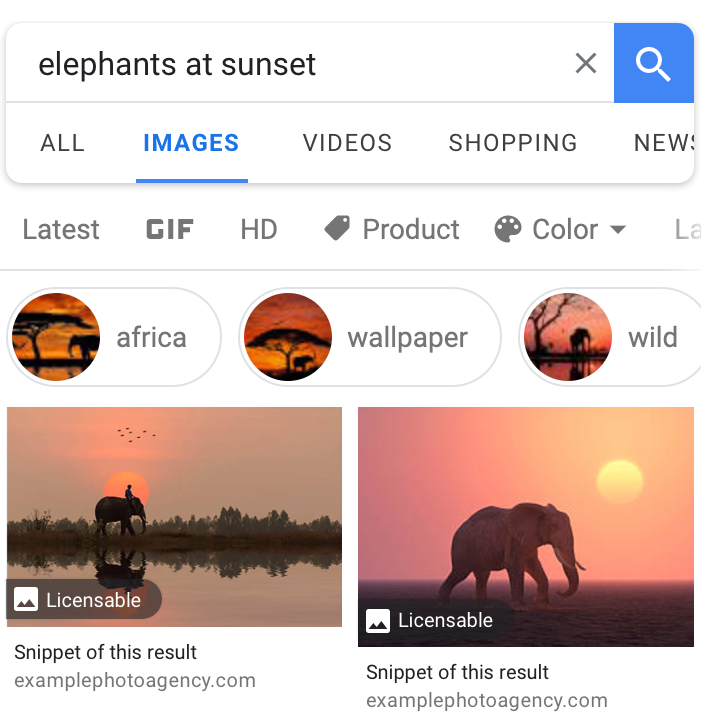 An example of Image License Metadata in Google Images