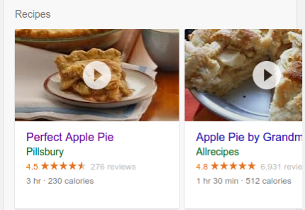 recipe example in search results