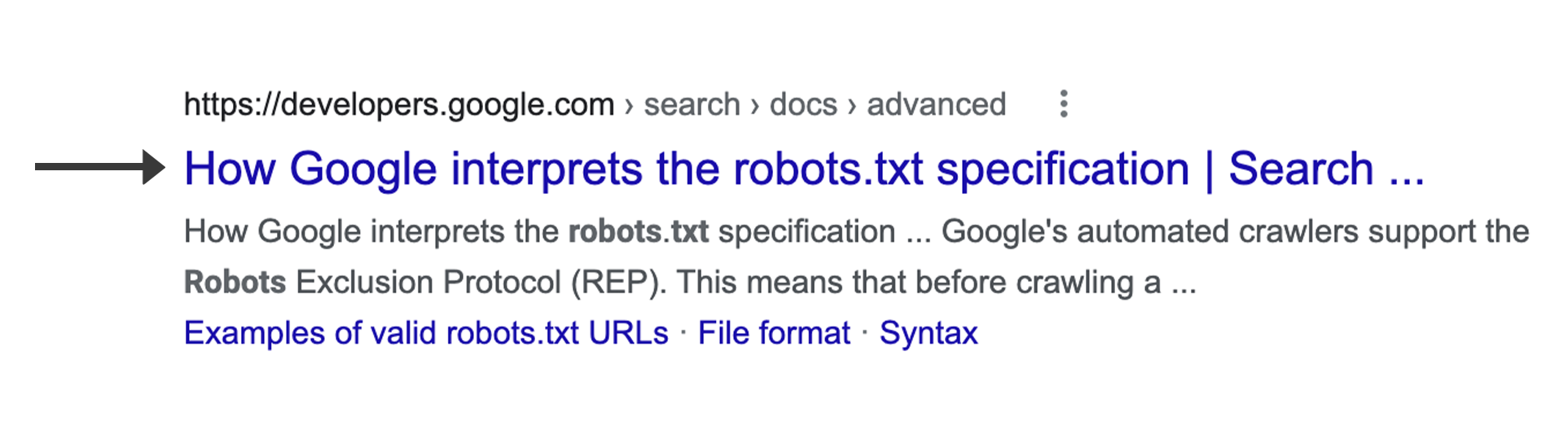 A title link in a web result in Google Search