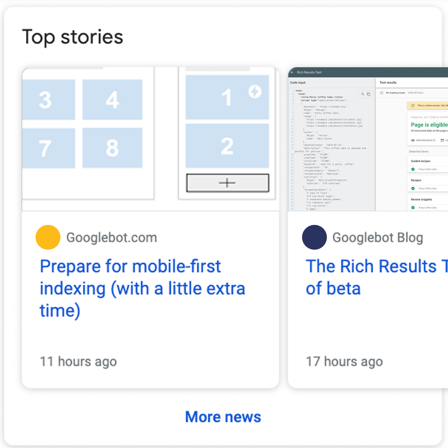 A carousel of AMP results for a news article.