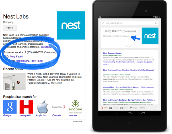 Screenshot of rich snippet for a corporate contact in search results
