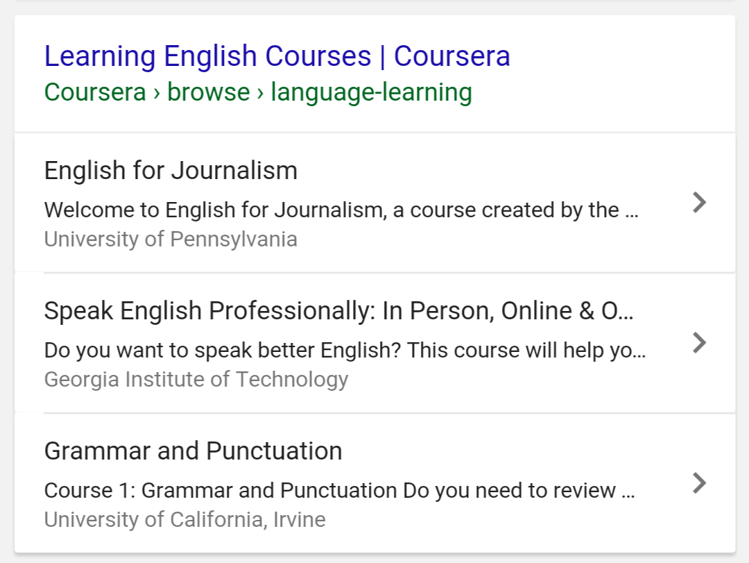 A screenshot of a Course in Search results