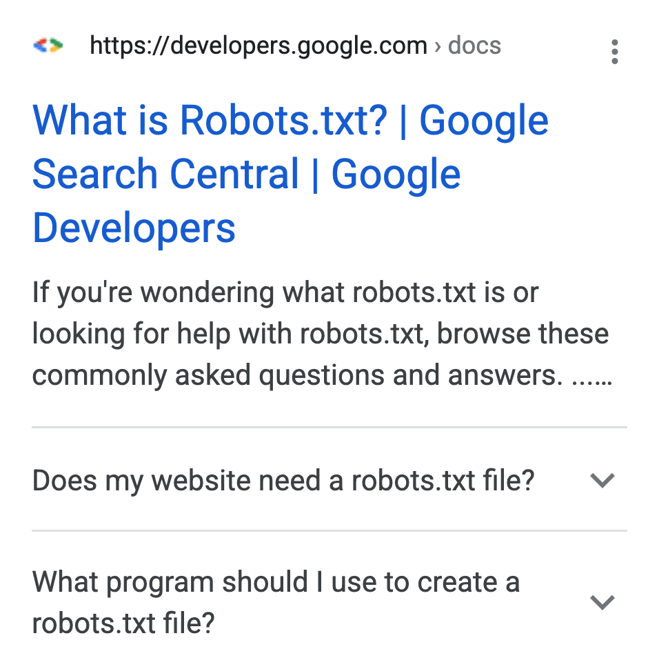 FAQ example in search results