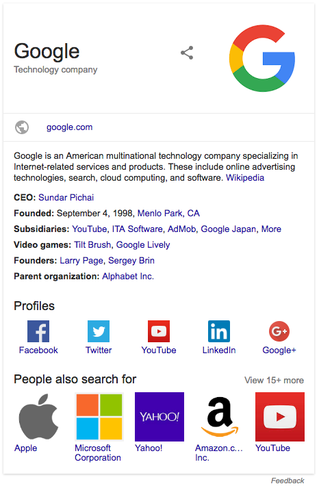 Screenshot of rich snippet for a software application in search results