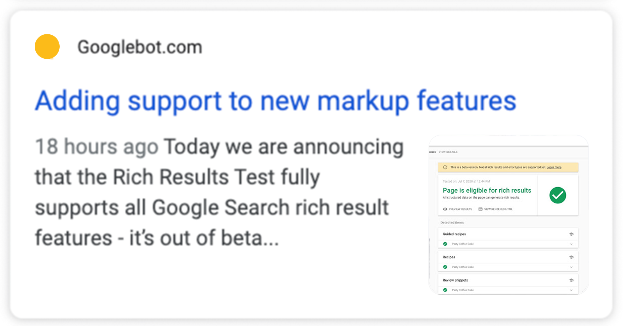 A non-AMP page with Article structured data in search results