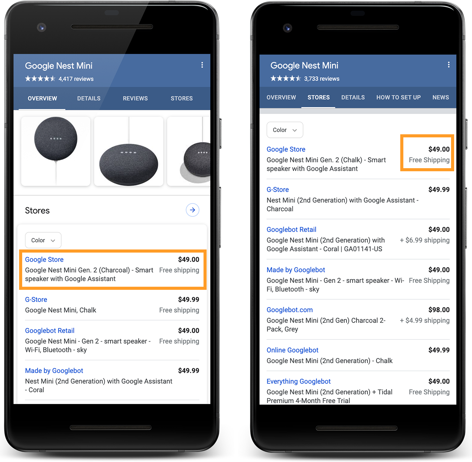 Shipping details in Search results
