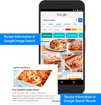 Example of image search on a mobile device and example of a rich result