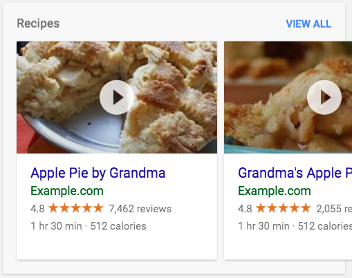 A carousel of recipes in search results. The carousel shows       2 cards about different types of pies. You can click the results to play a video.
