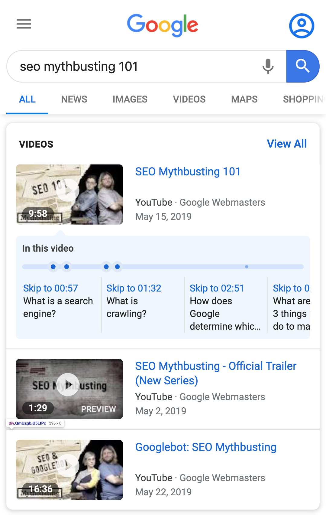 Example of a video in search results with clips