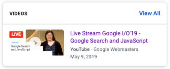 Video with a LIVE badge in search results
