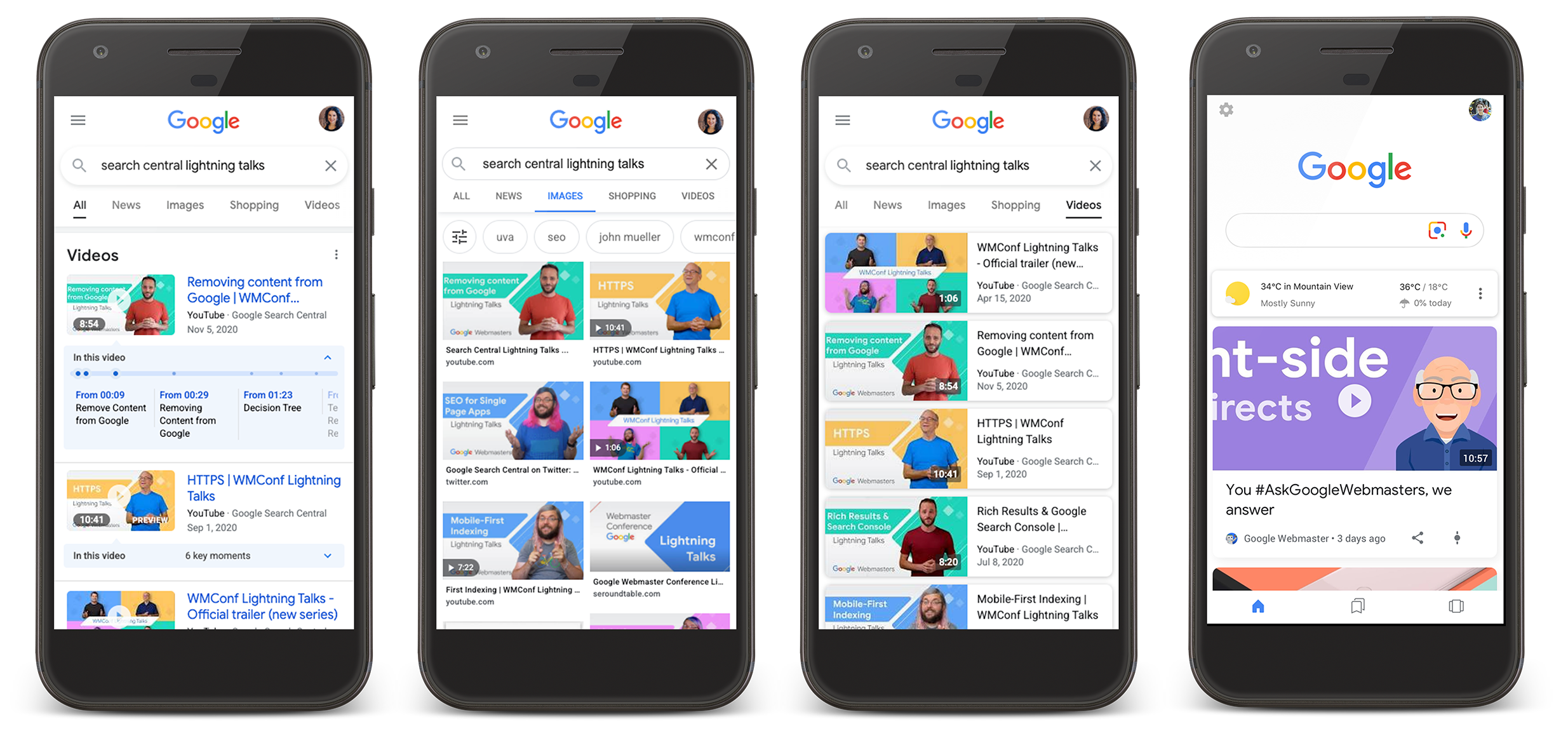 A screenshot that shows video content in Google search results, the video tab, and Discover