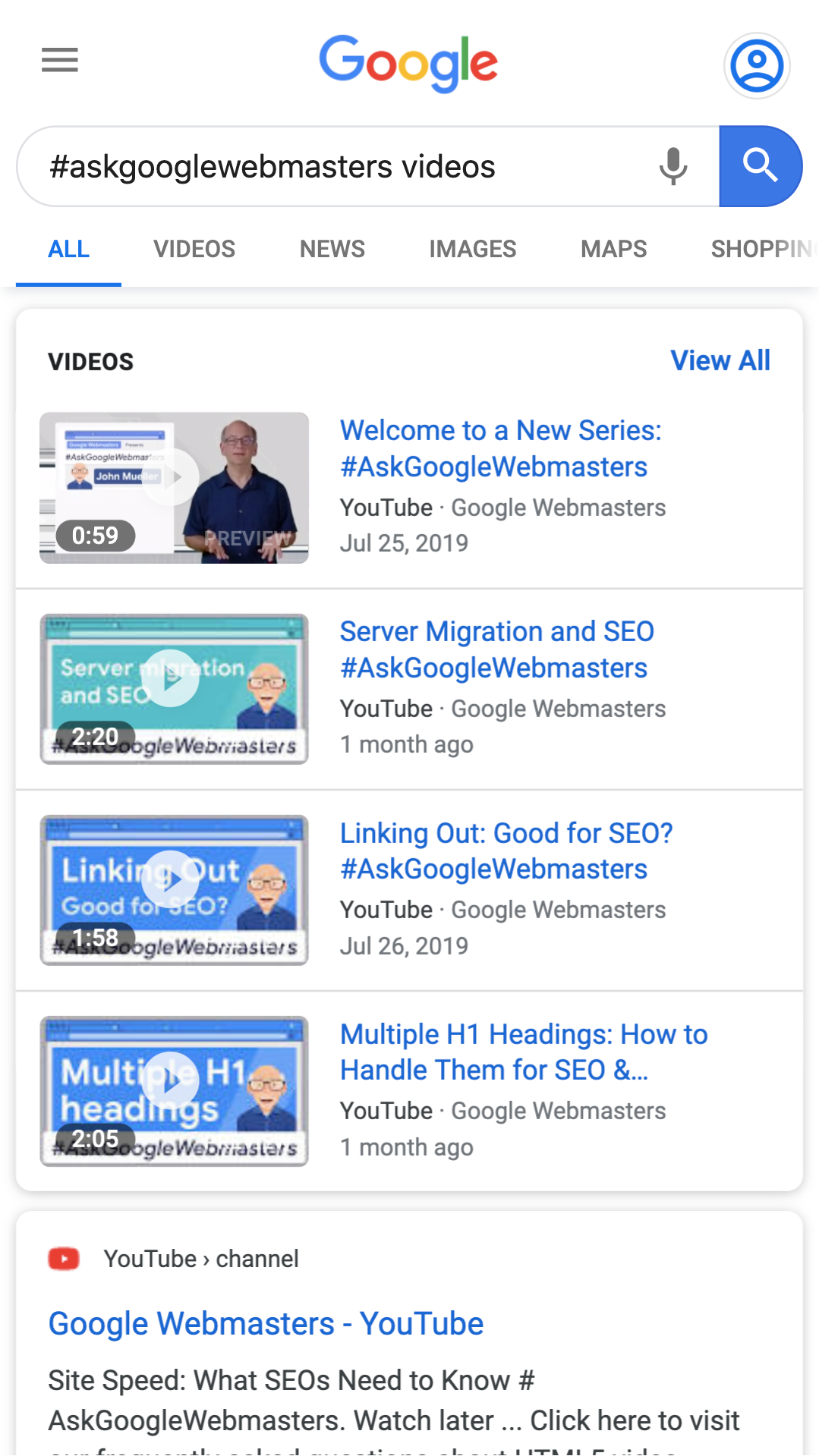 Example of standard video search results