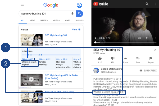 A video in search results with timestamps and labels