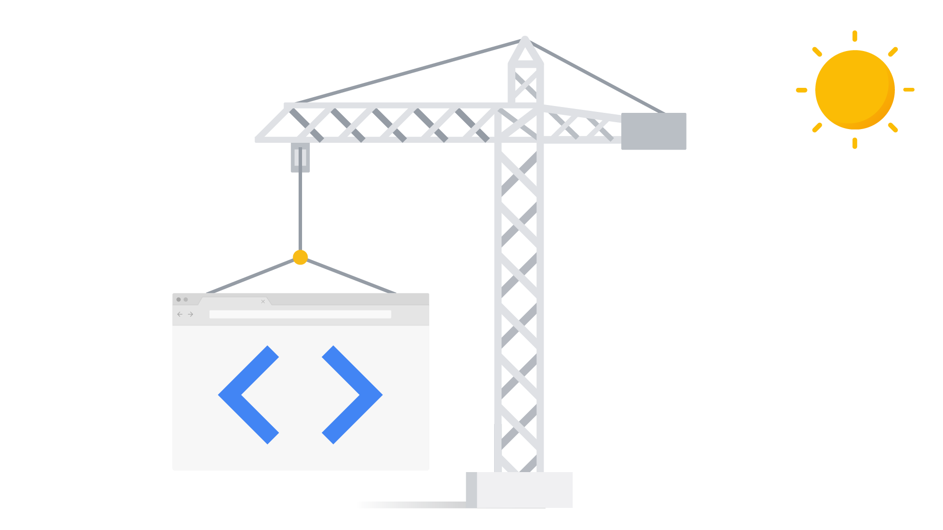 A crane is lifting up a website, showing how you can debug something