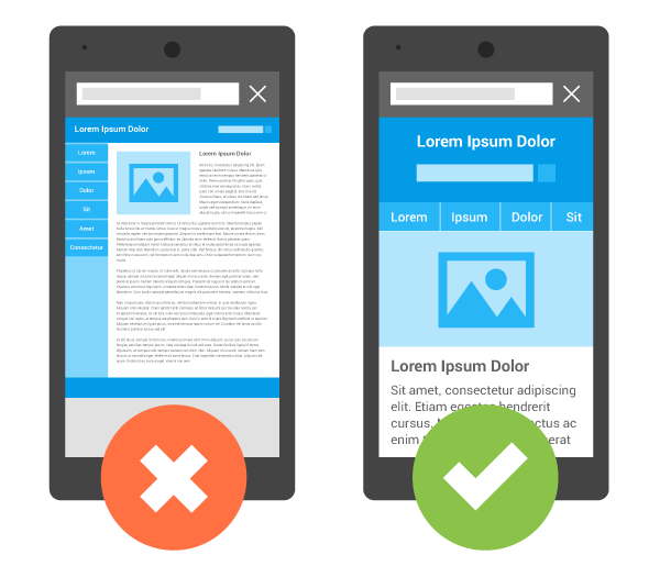 A site that's difficult to view and use on a mobile device compared with a mobile-friendly version