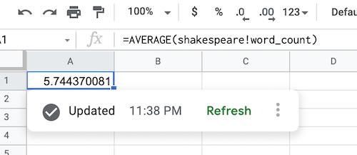screenshot of a data source formula showing data from shakespeare dataset
