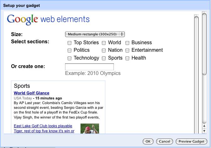 Sites gadget configuration view