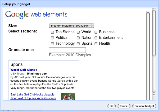 Sites gadget configuration view