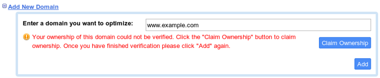 Dialog that shows that your domain hasn't been verified