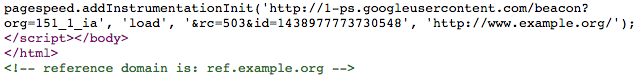 HTML source showing reference domain