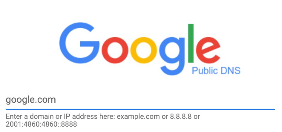 Google Public DNS homepage