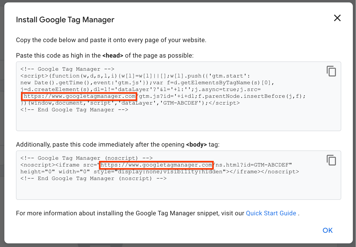 Screenshot of the Google Tag Manager snippet for gtm.js and ns.html insertion