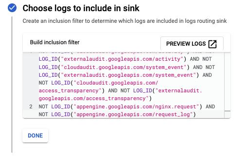 """Скриншот указанной конфигурации, показанной с помощью фильтра """"Включить"""" для журналов GCP"""