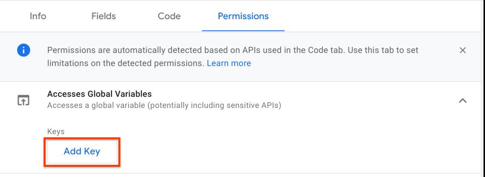 Add key in UI