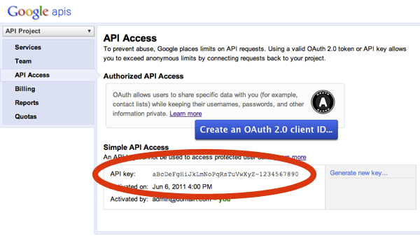 Getting the API Key from the APIs Console