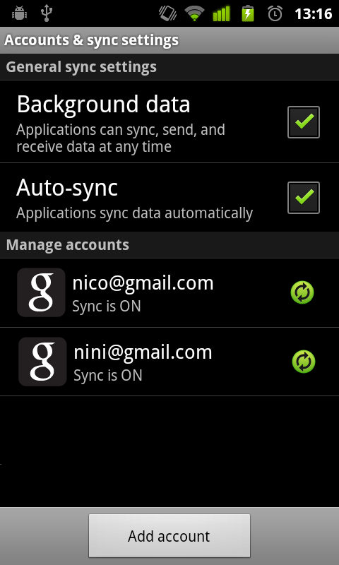 Accounts registered in your Android environment