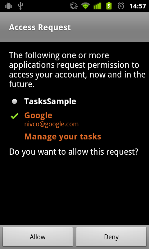 Authorization dialog