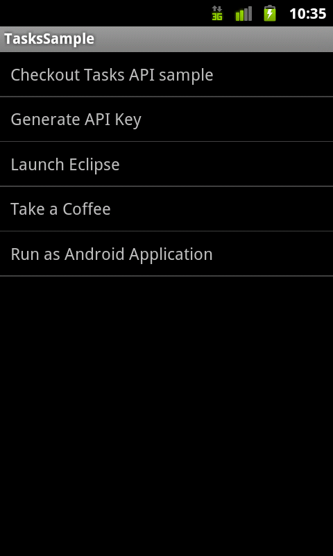Displaying the tasks in the default tasks list in a ListView