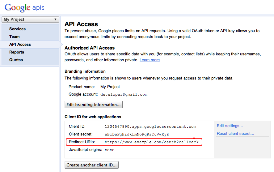 Redirect URI in the APIs Console
