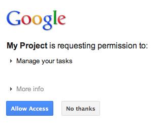 Google's authorization Dialog