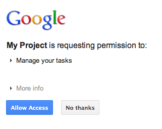 Google's authorization Dialog