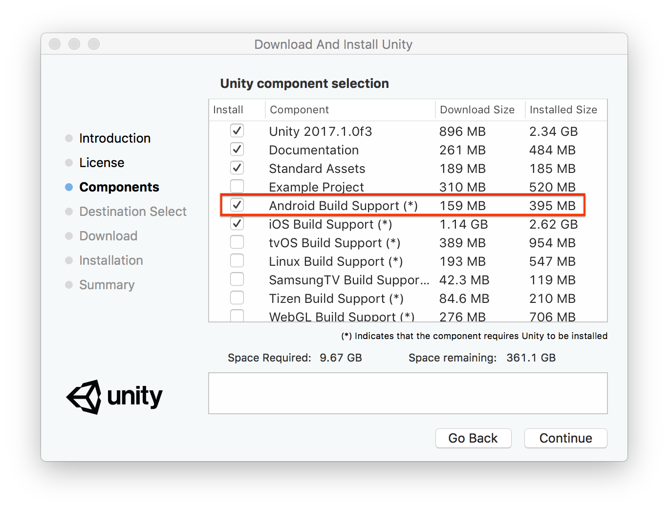 For More Installation Details See Unity S Android Sdk Setup Guide